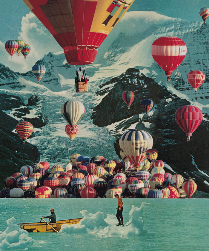 99 Air Balloons 10x94 Paper Collage 2017