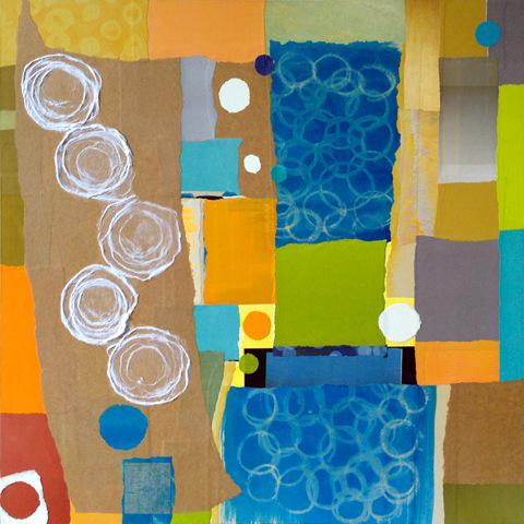 """Roundabout by Janice McDonald (30""""x30"""", paper collage) at Spark Gallery"""