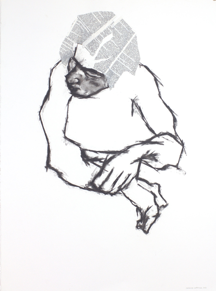 Espace creatif by Suzanne Lafrance (30x22; charcoal and collage on paper; 2012)